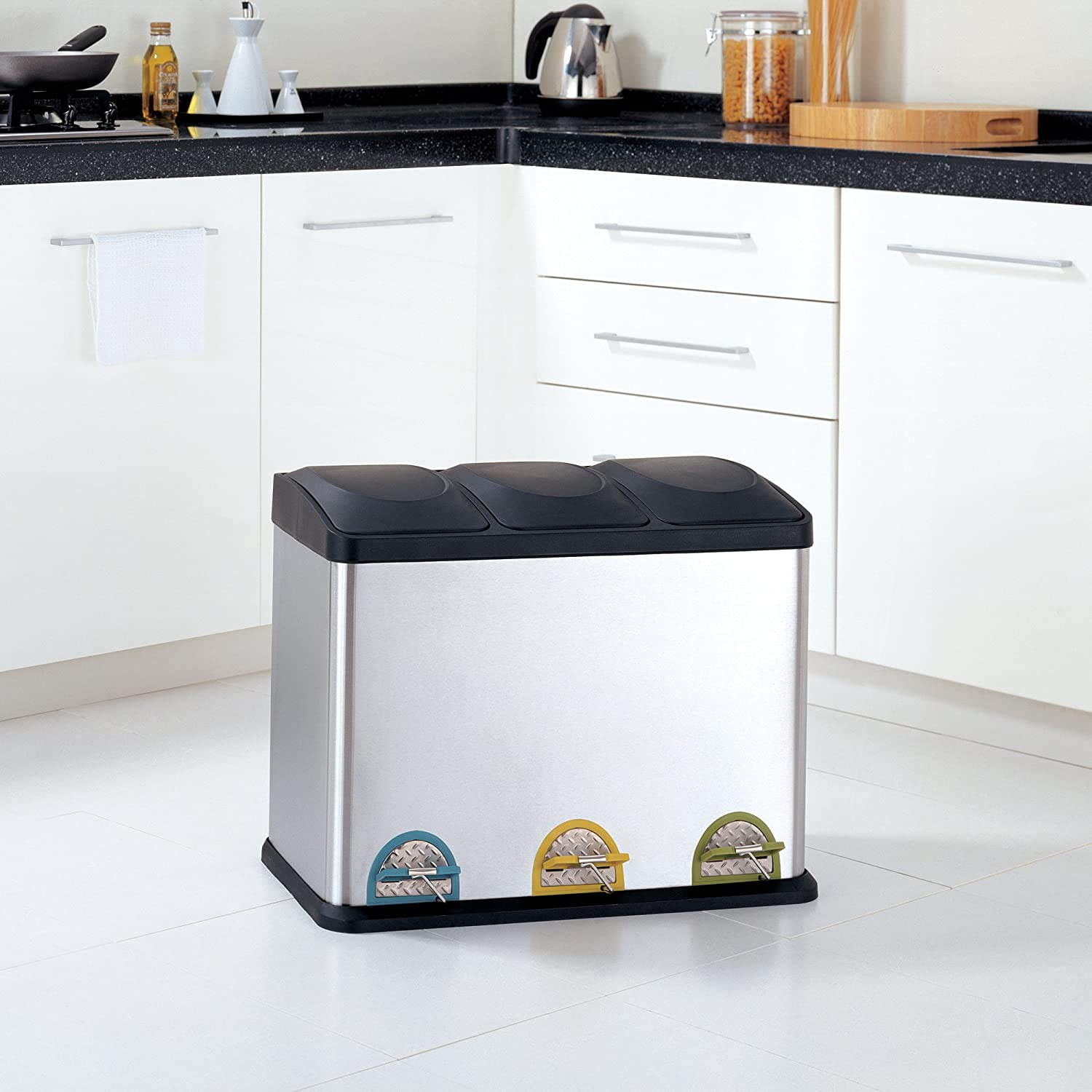 Amazon.com: Organize It All 3 Compartment Step-On 45 Liter Recycling on kitchen wood trash cans, kitchen stainless steel trash cans, kitchen under cabinet trash can, kitchen recycle trash cans,
