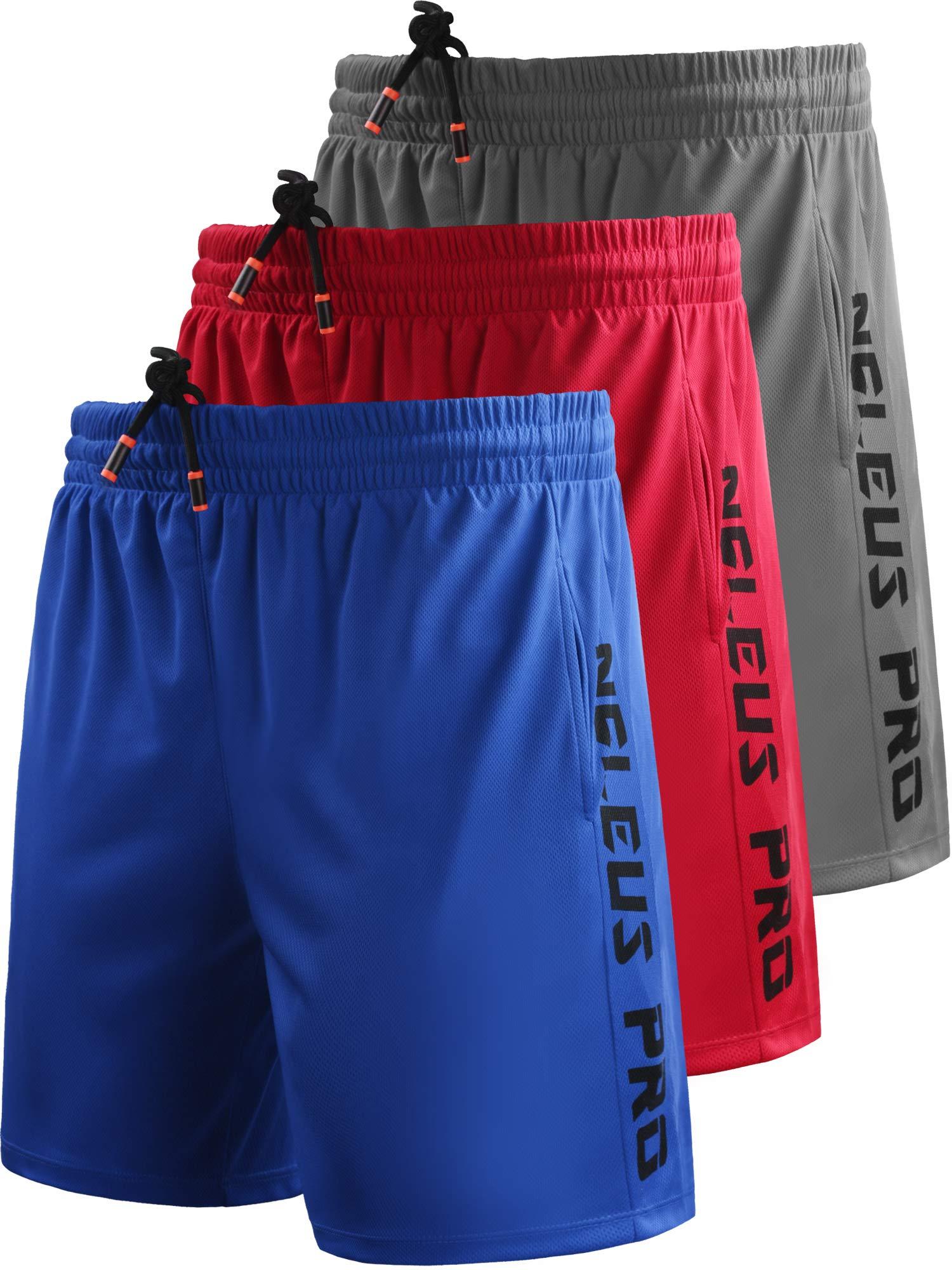 Neleus Men's 7'' Workout Running Shorts with Pockets,6056,3 Pack,Grey,Blue,Red,L,EU XL by Neleus