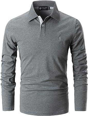 STTLZMC Polo Hombre Mangas Largas Camiseta Casual Botón Cuello ...