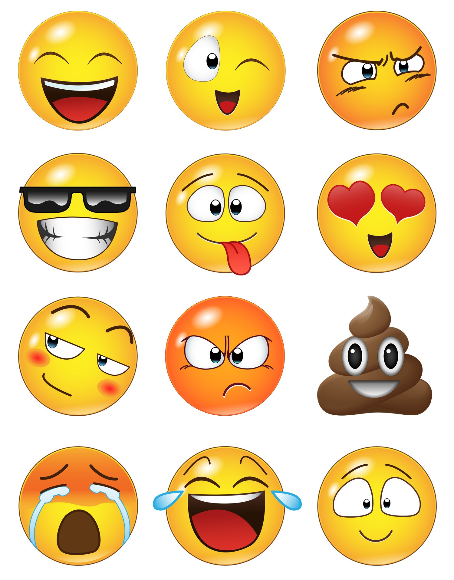 12 Large Emoji Wall Decal Faces Sticker #6052s 10in X 10in Each by Stickerbrand (Image #4)