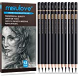 MISULOVE Professional Charcoal Pencils Drawing Set - 12 Pieces Soft, Medium & Hard Charcoal Pencils for Drawing…