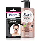 Biore Rose Quartz + Charcoal Daily Purifying Cleanser (200 mL) and Biore Deep Cleansing Charcoal Pore Strips 2 ct Travel Size