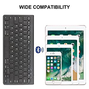 OMOTON Ultra-Slim Bluetooth Keyboard with Sliding Stand,Compatible with 2018 iPad Pro 11/12.9, New iPad 9.7 Inch, iPad Air, iPad Mini, iPhone and Other Bluetooth Enabled Devices,Black (Color: Black)