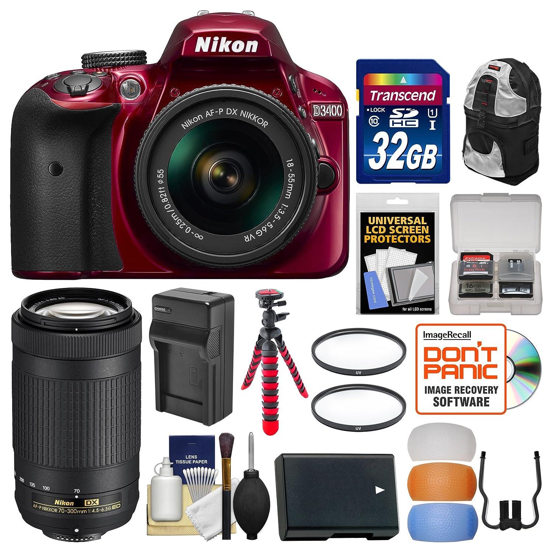 Nikon D3400 Digital SLR Camera & 18-55mm VR (Red) & 70-300mm DX AF-P Lenses with 32GB Card + Backpack + Battery & Charger + Flex Tripod + Filters + Kit