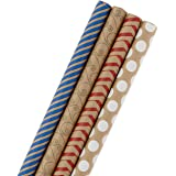 Hallmark Wrapping Paper Bundle - Kraft Brown with Red, Blue, White, Black Designs (Pack of 4, 88 sq. ft. ttl.) for…