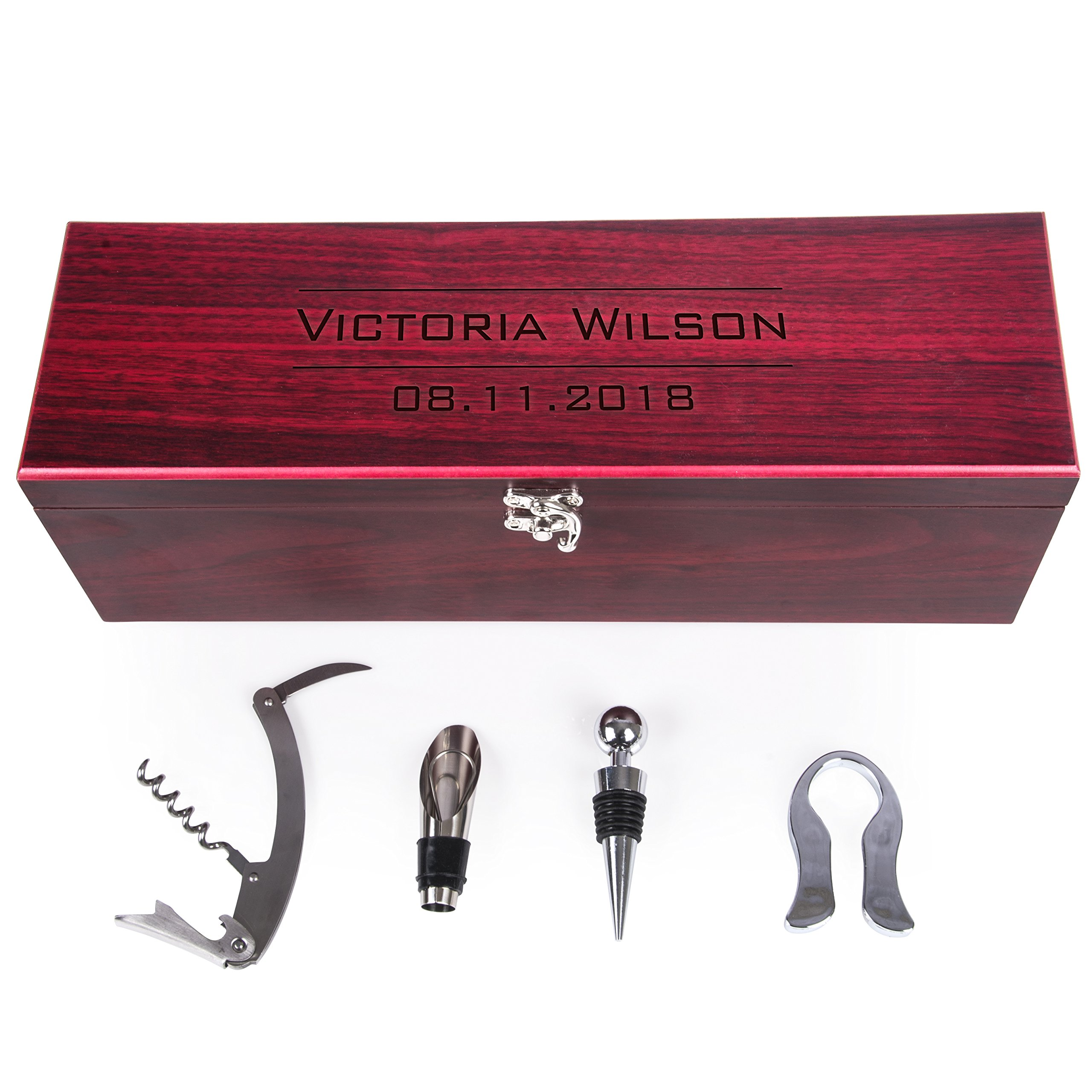 Personalized Rosewood Wine Box Gift Set with Tools - Customizable with Name/Text & Date | Housewarming Home Kitchen Gift for Wine Enthusiasts | Wedding Bridal Shower Anniversary