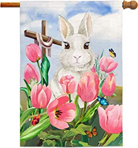 Bonsai Tree Easter Flags 28 x 40 Double Sided, Easter Bunny Burlap Garden Flag, Spring Tulips with Cross Banners Home Yard Decorations Gifts