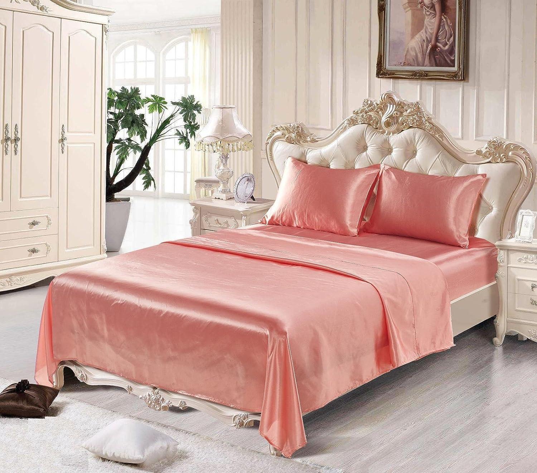 DuShow Pink Satin Silk 4 Pcs Bedding Set,Silk Flat Sheet, Fitted Sheet,Satin Pillowcases (King,Pink)
