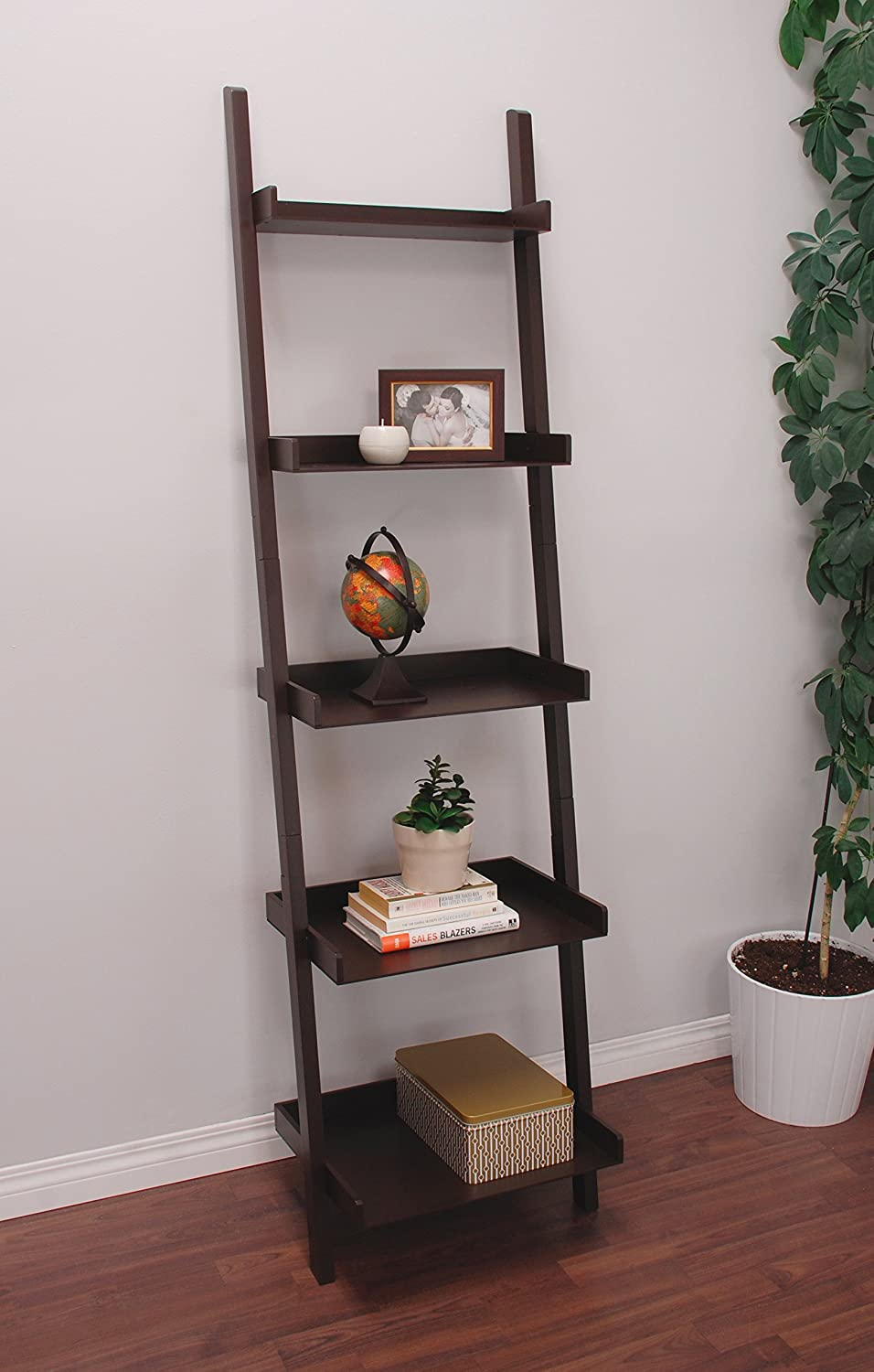 Kiera Grace Hadfield 5-Tier Leaning Wall Shelf, 18 67-Inch, Espresso AZ Home and Gifts FN43648-1