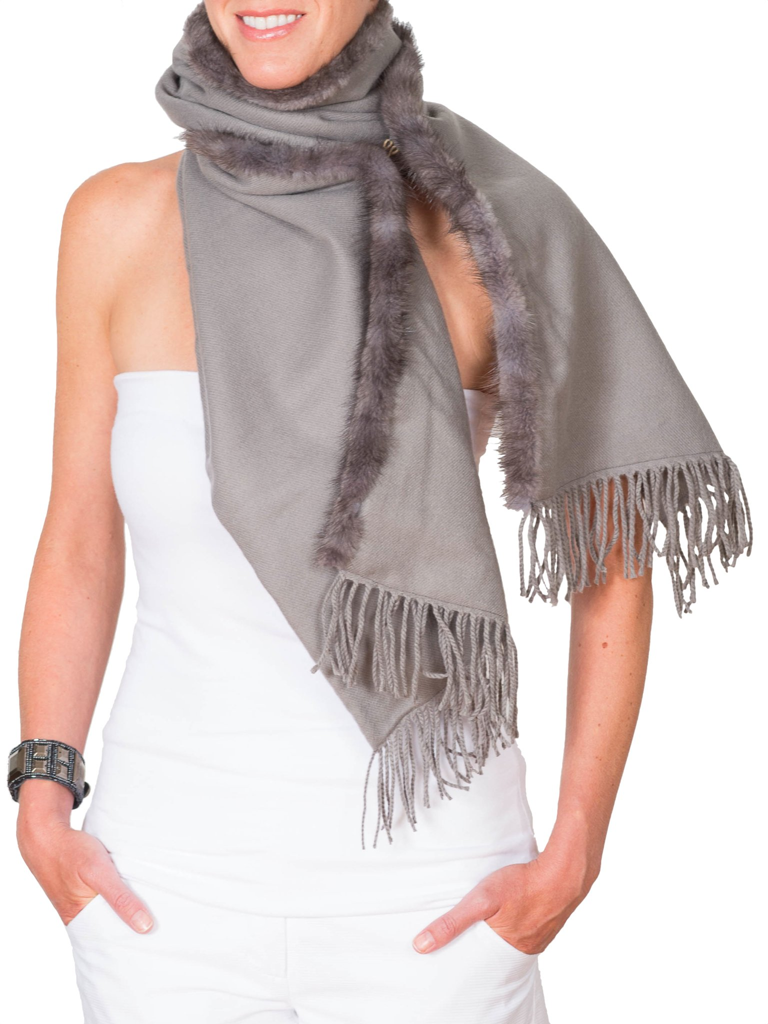 Claire Florence Women's Mink Cashmere Travel Scarf 12''X24'' Grey