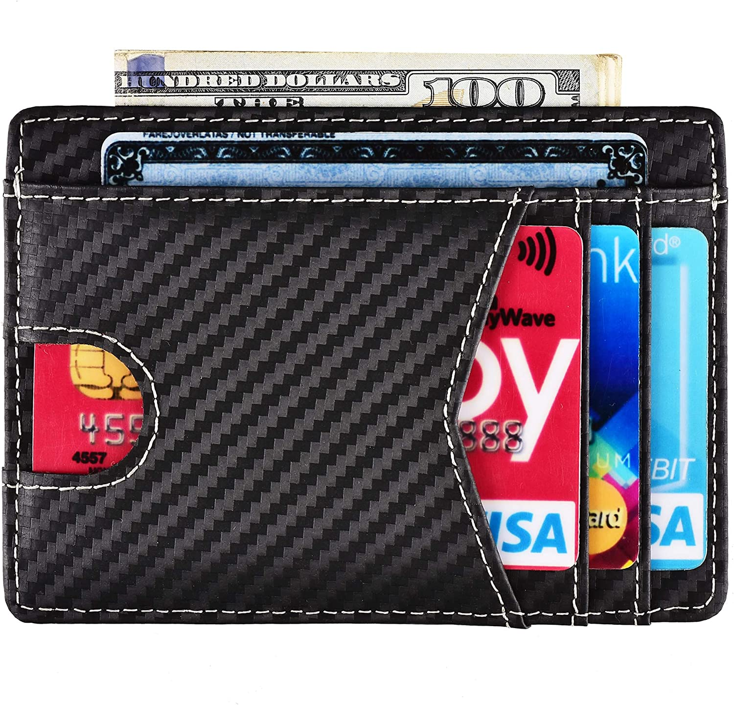 RFID Blocking Wallet Minimalist Slim Leather Credit Card Holder for Men Holds up to 8 Cards and Bank Notes(Dimension: 110mm x 80mm) Y - Thumb Notch - Carbon Fiber