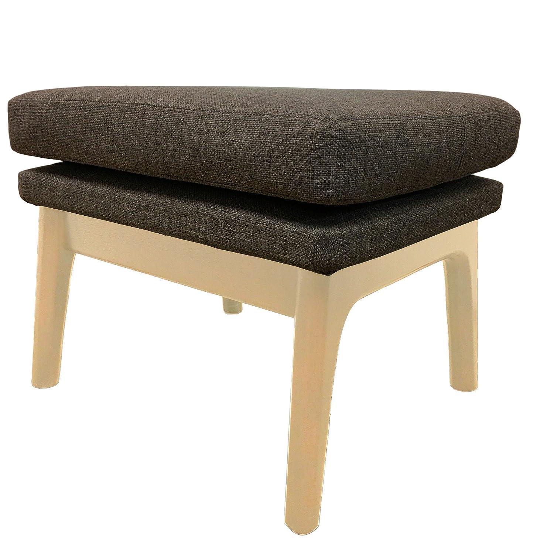 Lewis interiors gray upholstered ottoman footrest stool modern contemporary mcm retro mid century modern handcrafted custom gray tweed light wood tone