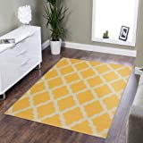 "Silk Road Concepts Collection Contemporary Rugs, 3'3"" x 5', Yellow"