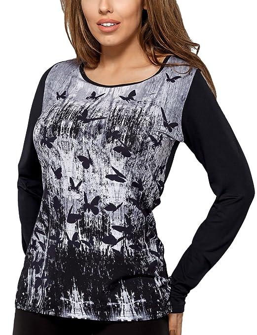 Vestiva BLV 009 Blusa De Manga Larga Y Escote Redondo Con Estampado - Hecha En La UE, negro-gris, M: Amazon.es: Ropa y accesorios