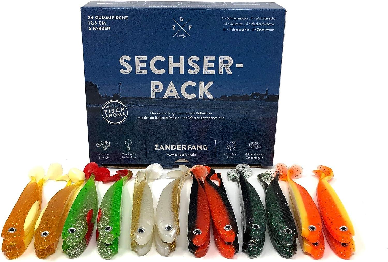 6 Farben 12,5 cm Sechserpack Zanderfang 24 Gummifische zum Zanderangeln mit Gummifisch 24er Set