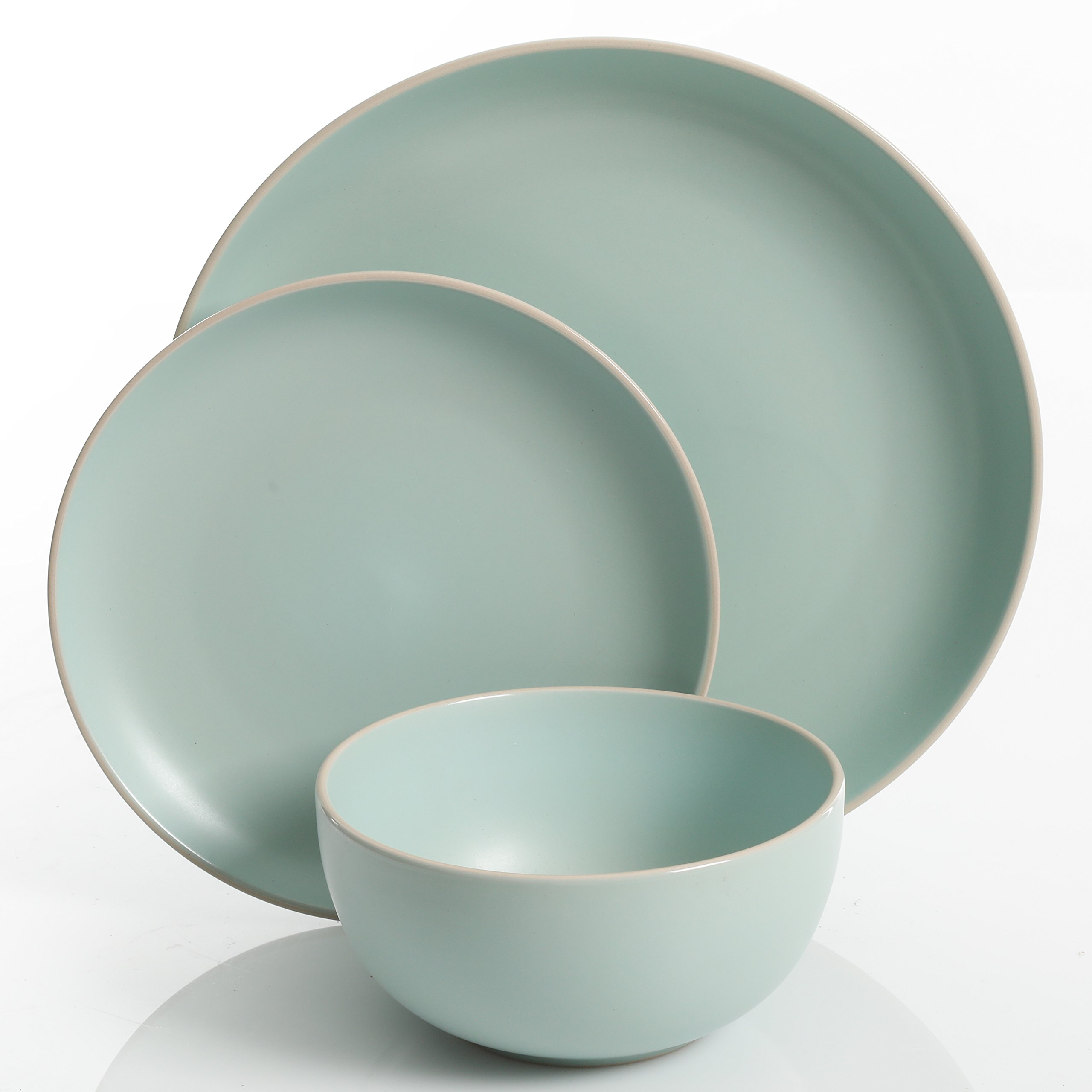 Gibson Home Rockaway 12-Piece Dinnerware Set Service for 4, Teal Matte by Gibson Home (Image #3)