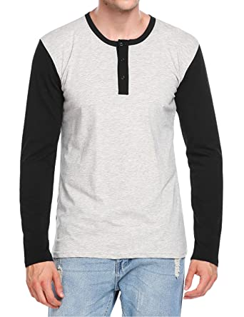 Hotouch Mens Casual Slim Fit Henley Shirt Cotton Tops T-Shirts at ... 9f0ad48fa93