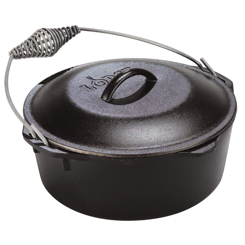 Black Grey 7qt Lodge Dutch Oven Kitchen Cast Iron 7-Quart Enamel Coated Oven Cooking Cookware Stove Pot Rustic Seven Quart Gray, Cast Iron