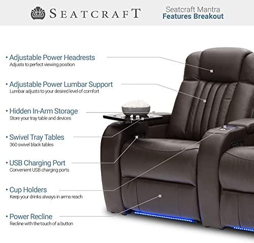 Seatcraft – Mantra – Home Theater Seating – Power Recline Chair – Leather – Adjustable Headrest and Lumbar Support – Cup Holders – USB Charging – Storage – SoundShaker – Brown, Row of 4 Loveseat
