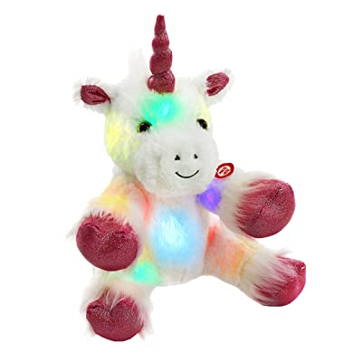 WEWILL Glow Unicorn LED Stuffed Animal Soft White Plush Toy Nightlight Companion Gift for Kids on Christmas Birthday Any Festivals, 12'': Toys & Games