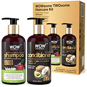 WOW Apple Cider Vinegar Shampoo - Wowsome Twosome No Parabens & Sulphates Hair Care Package 600Ml