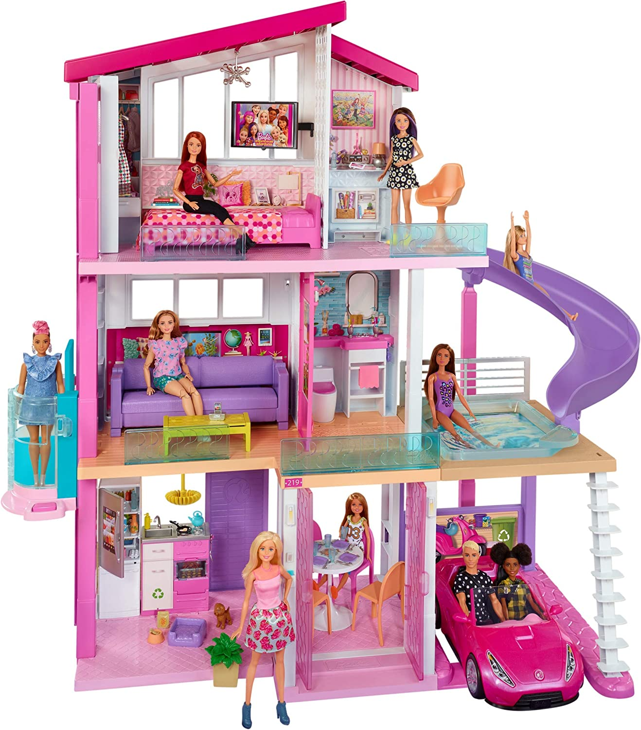 Barbie Dreamhouse Dollhouse With Pool Slide And Elevator Toys Games