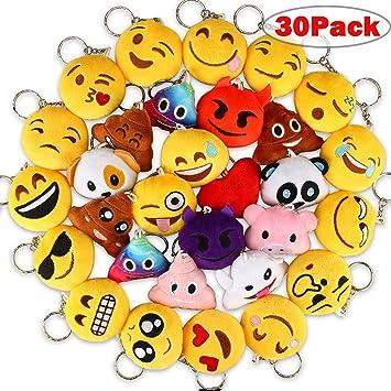 Aiduy Emoji Llavero, Mini Pop de Peluche Llavero, Llavero Decoración 6 cm – Perfecto Regalo/Pensiero Regalo para niños, para el día de los niños ...