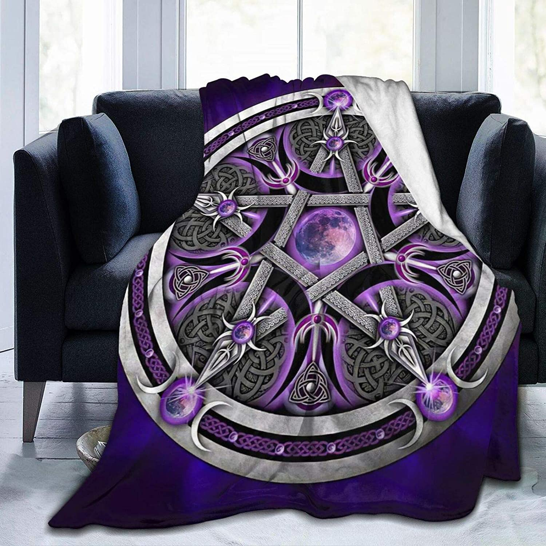 Pentacle Bleu//Violet Couvre-lit Jeter Fairtrade fond Celtique Pagan Wicca New