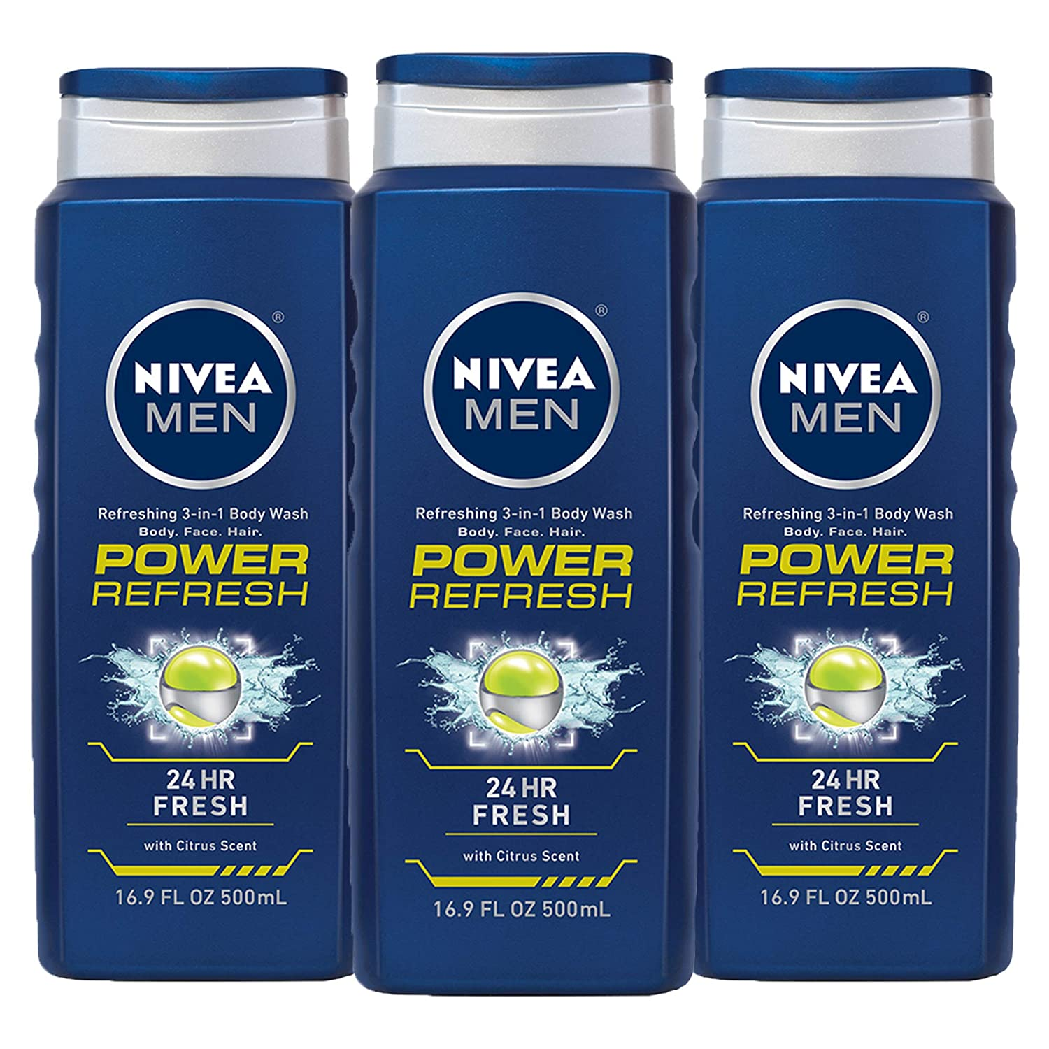 NIVEA Men Power Refresh Body 3-in-1 Wash - Face, Body, Hair with Citrus Scent - 16.9 fl. oz. Bottle (Pack of 3)