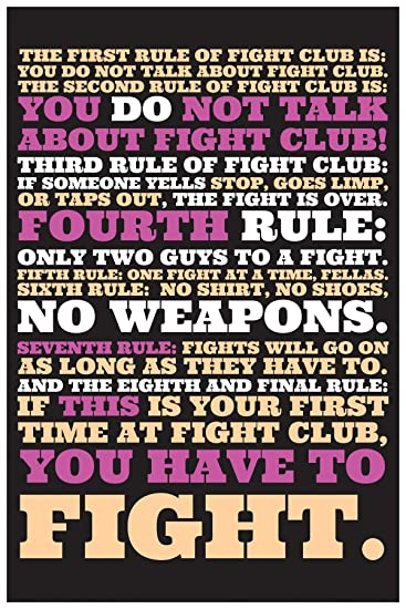 Inephos The Rules Of Fight Club Quote Movie Poster 12 X 18 Inch