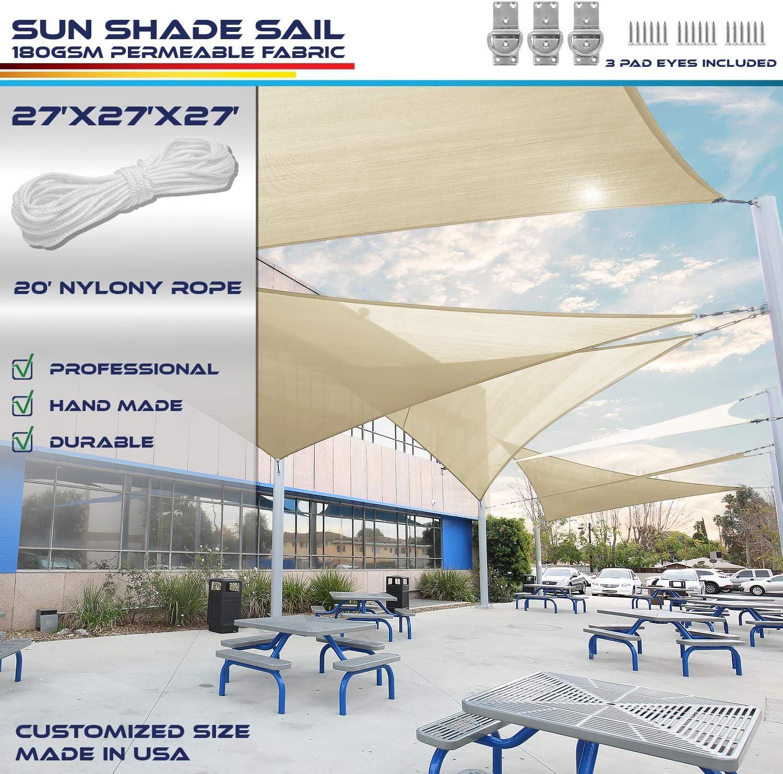 Windscreen4less Parasol sin Parabrisas de 25, 4 x 25, 4 x 25, 4 cm, triángulo, Tela Permeable UV Block Patio al Aire Libre Piscina – Personalizable Disponible: Amazon.es: Jardín
