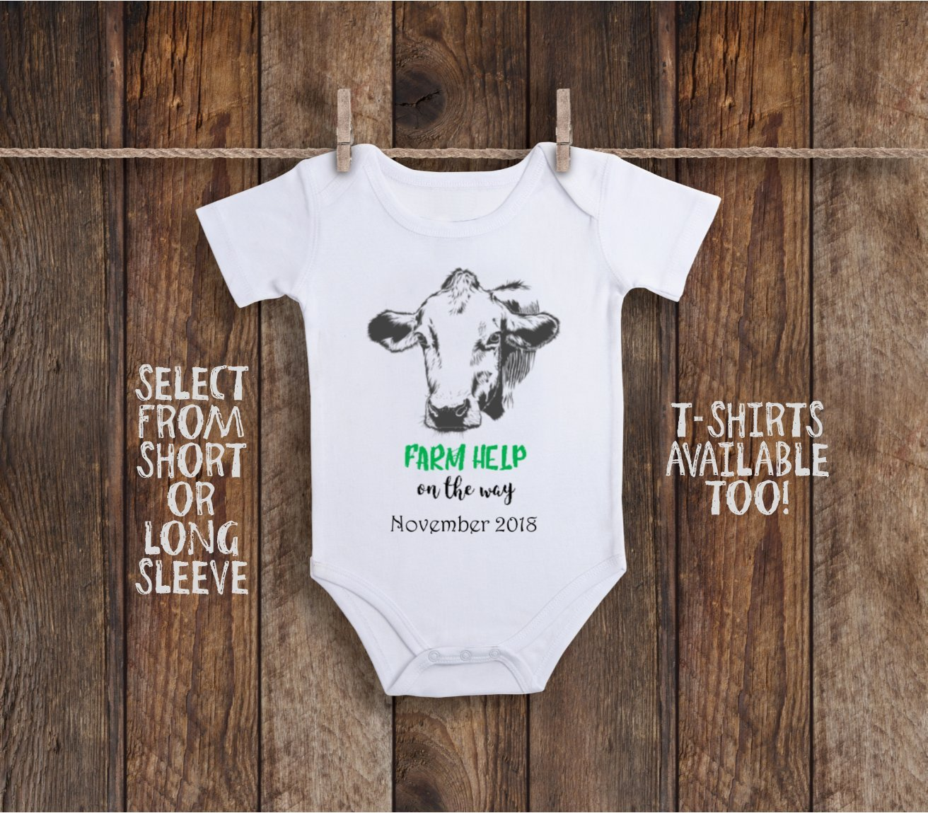 Cow Farm Help On The Way Custom Announcement Toddler Kids Tee Shirt or Baby Bodysuit