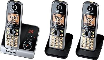 Panasonic KX-TG6723GB Trio - Teléfono inalámbrico (2 terminales adicionales, pantalla de 1,8