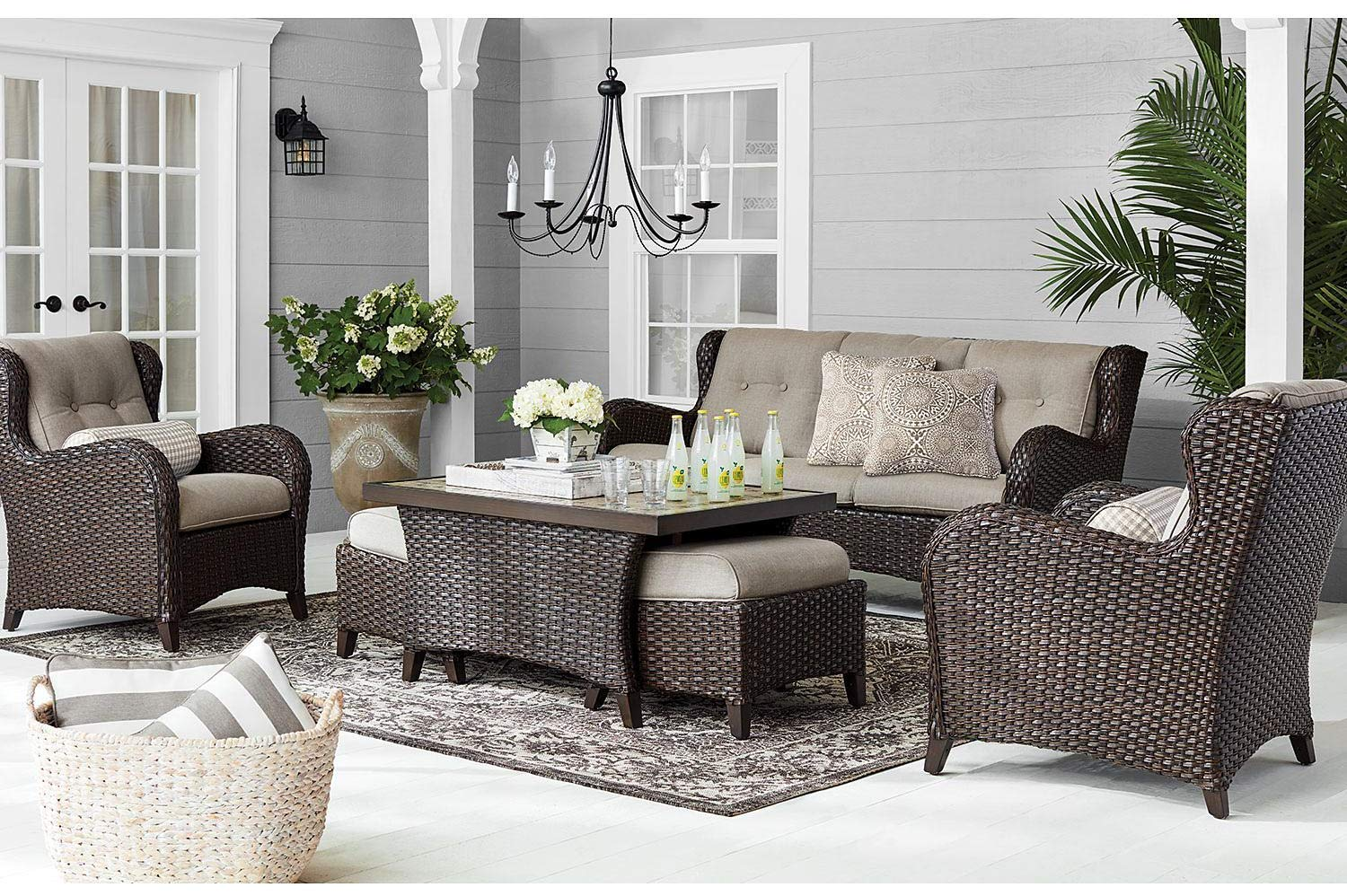 Member's Mark Agio Heritage 6-Piece Deep Seating Patio Set with Sunbrella Fabric - Shale