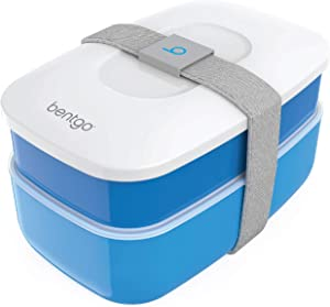 Bentgo Classic (Blue) - All-in-One Stackable Lunch Box Solution - Sleek and Modern Bento Box Design Includes 2 Stackable Containers, Built-in Plastic Silverware, and Sealing Strap