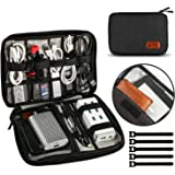 UNEEDE 2018 Cable Organizer Bag Cremallera Doble Universal Storage Case 9.4 x 6.6 Pulgadas, Negro