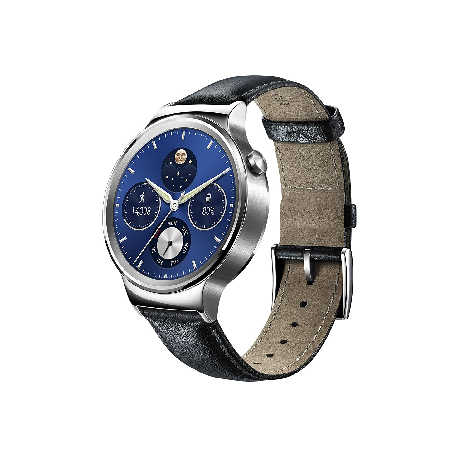Huawei Watch W1 Silver Frame Leather Belt Android IOS ...