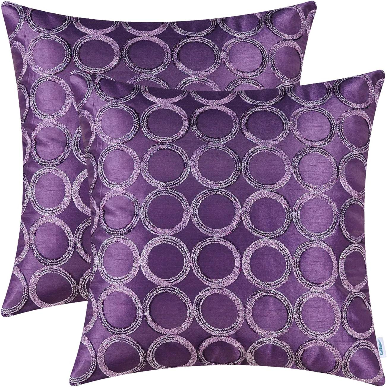 CaliTime Pack of 2 Cushion Covers Throw Pillow Cases Shells for Sofa Couch Home Decoration 18 X 18 Inches Modern Circles Rings Geometric Chain Embroidered Purple
