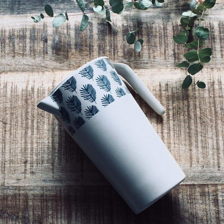 Jarra de zumo de fibra de bamb/ú jarra, limonada, con tapa, vajilla de camping color blanco 1,7 litros