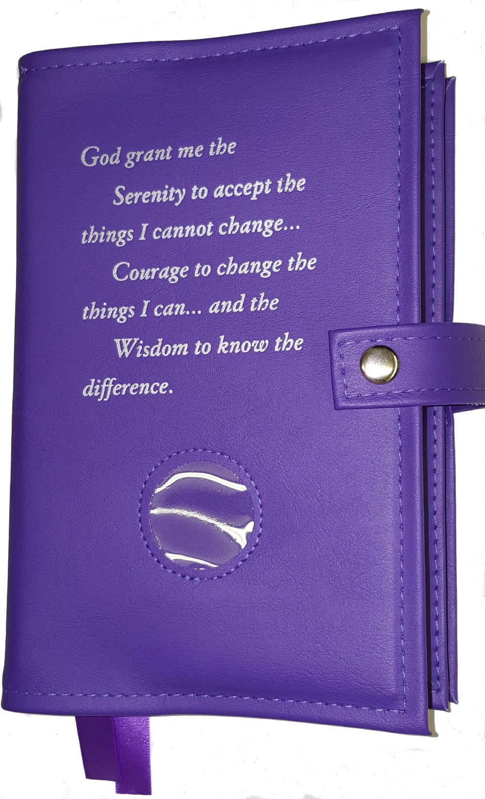 Deluxe Double Alcoholics Anonymous AA Big Book & 12 Steps & 12 Traditions Book Cover ONLY Medallion Holder Purple Orchid