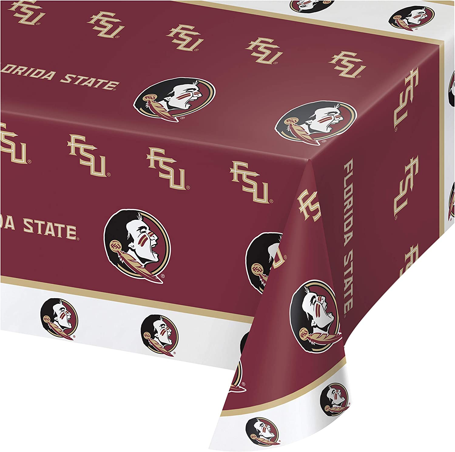 """Creative Converting Florida State University Plastic Tablecloth, 54 by 108"""", Garnet/Gold"""