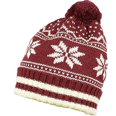 Men Women Winter Hat Nordic Stars Baggy Beanie Warm Cap (Brown)   Amazon.co.uk  Clothing e8b64b41187