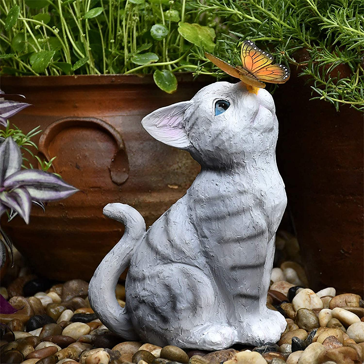 Wyxy Solar Garden Statue, Resin Cute Cat & Butterfly Sculpture Outdoor Garden Ornament with LED Solar Powered for Garden Home Party Yard Lawn Pool Pond Fishing Decor