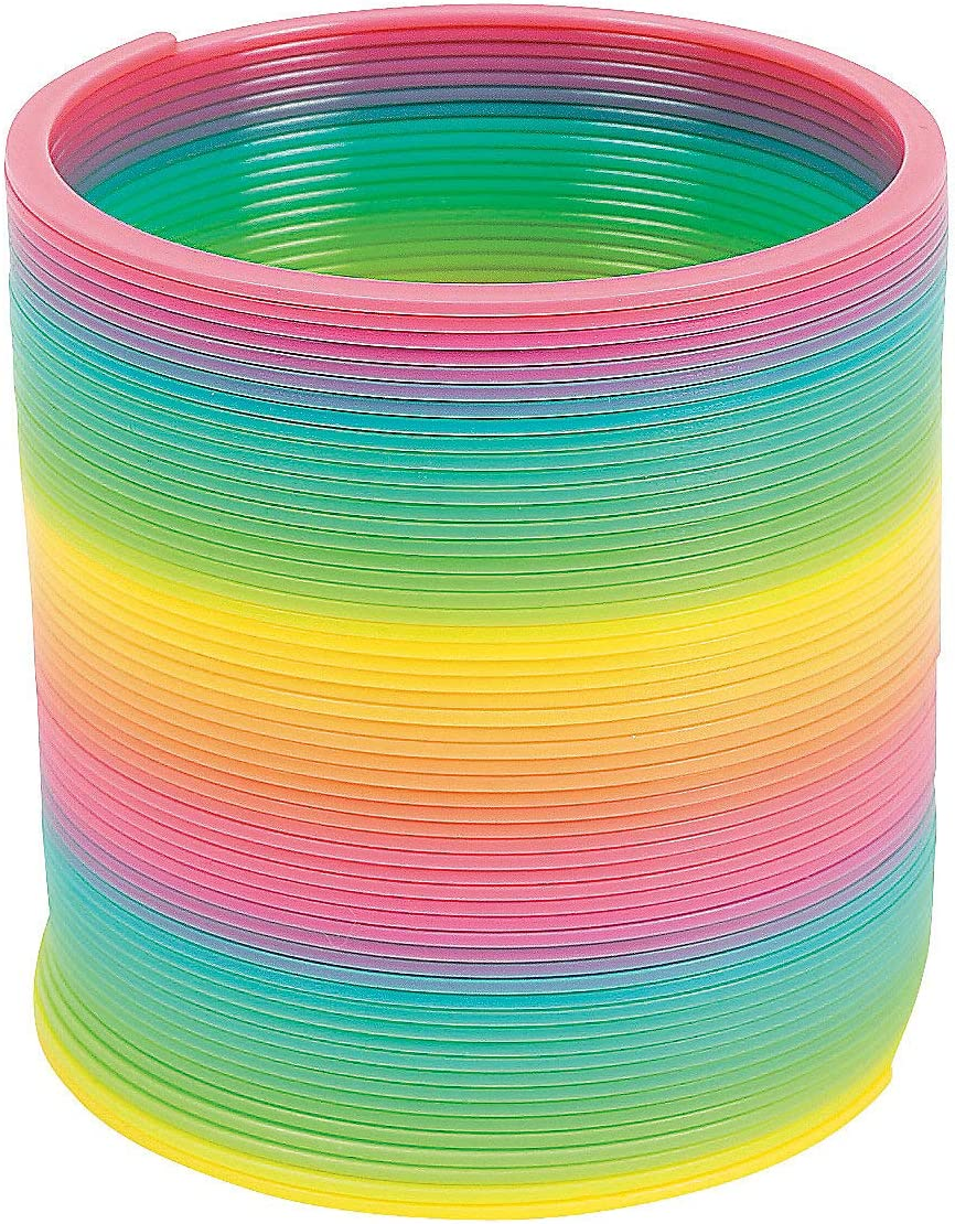 Plastic Rainbow Magic Slinky Toy 12 Pack 3 x 3 Inches not elongated