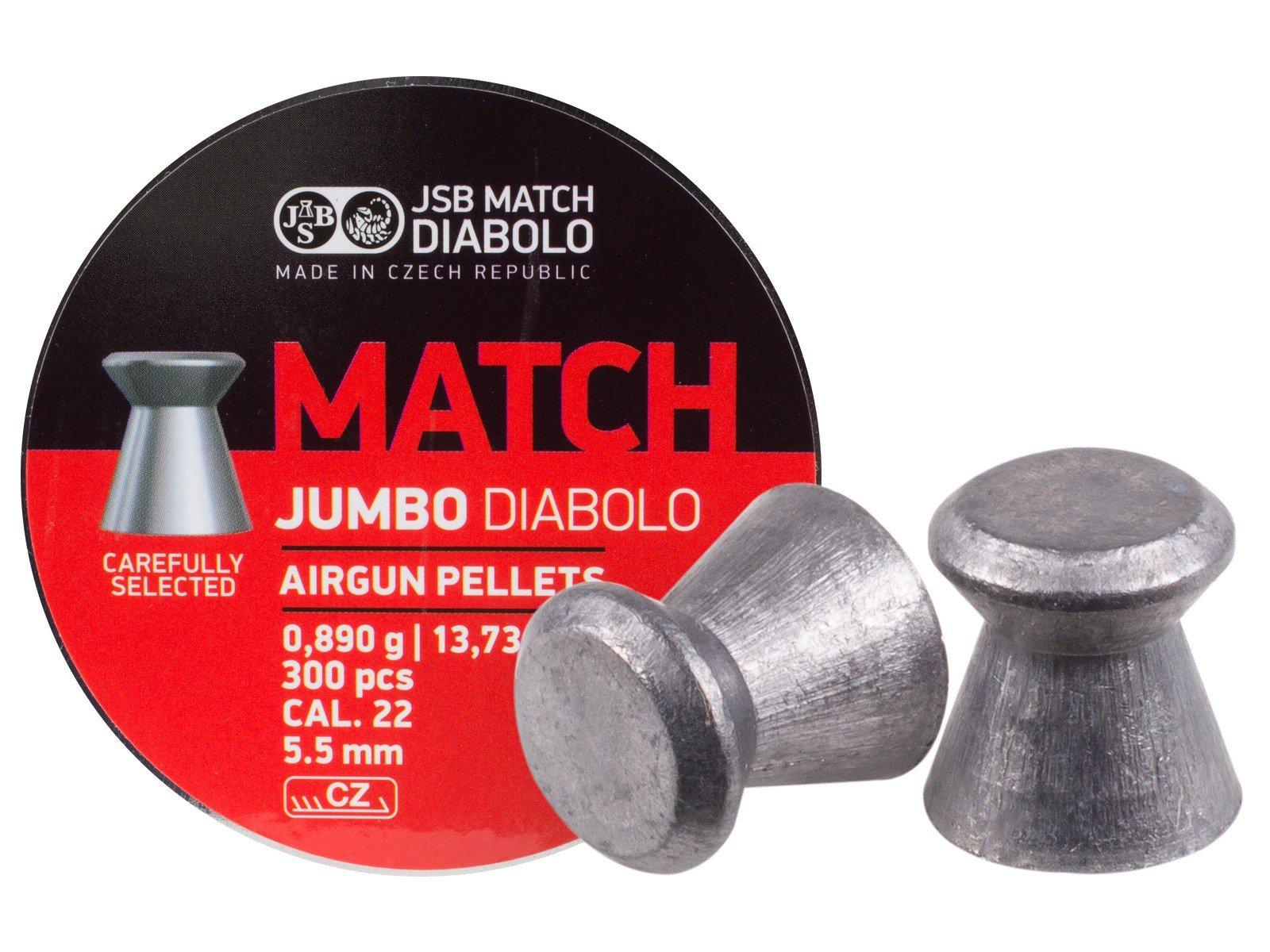 JSB Match Jumbo Diabolo Pellets.22 Cal, 13.73 Grains, Wadcutter, 300ct
