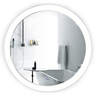 mirror 20 x 30. led bathroom round mirror 22 inch diameter | lighted vanity dimmer \u0026 defogger silver 20 x 30