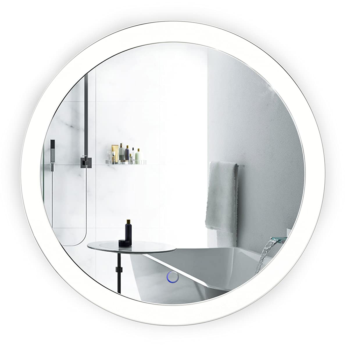 Krugg LED Bathroom Round Mirror 22 Inch Diameter | Lighted Vanity Mirror Dimmer & Defogger | Silver Backed Glass | |
