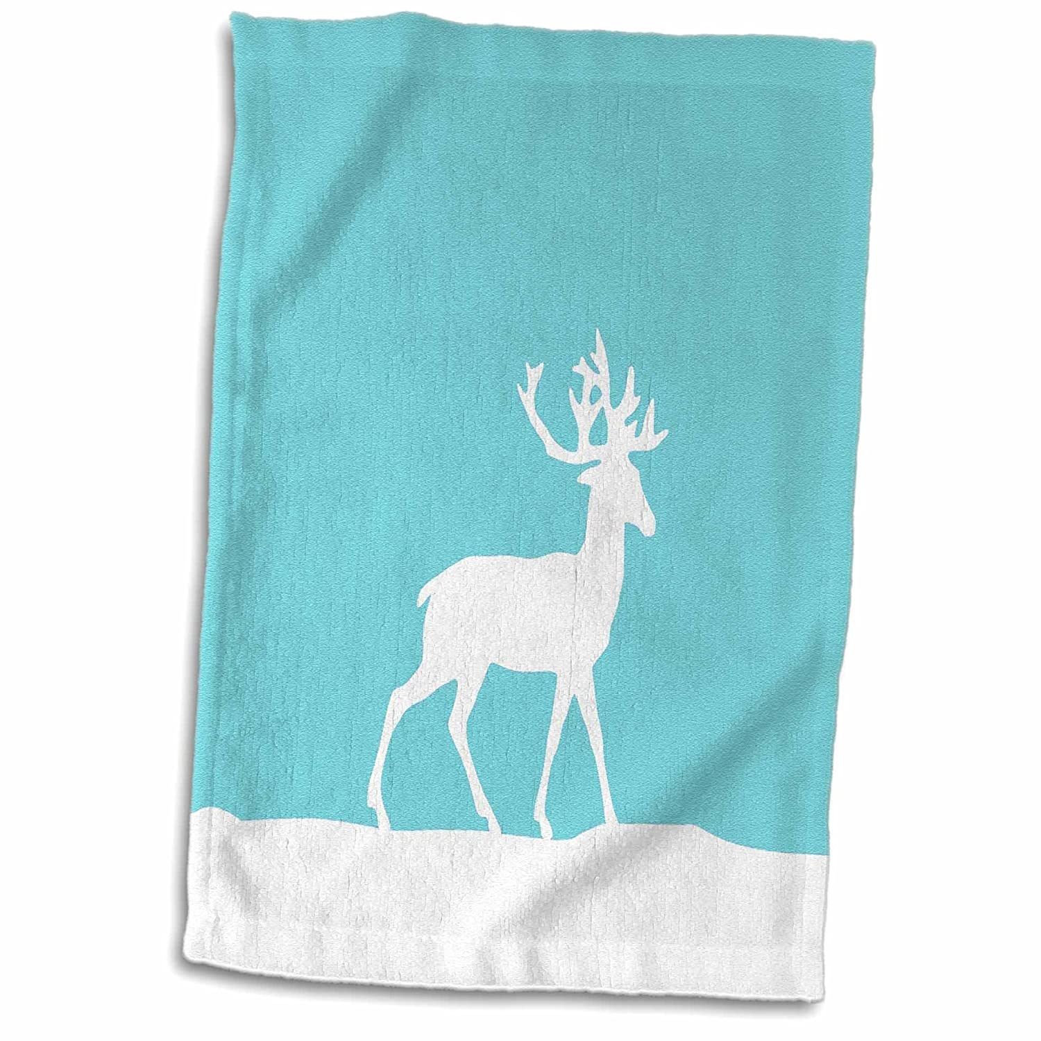3D Rose Ice Blue Reindeer in The Snow - White Deer Silhouette On Teal Turquoise Aqua - for Christmas Xmas Hand/Sports Towel 15 x 22