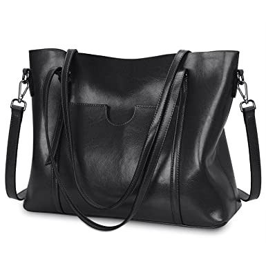 5f3b6031cf4a Amazon.com  S-ZONE Women Genuine Leather Top Handle Satchel Daily Work Tote  Shoulder Bag Large Capacity (Black)  Clothing