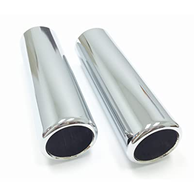 """2 Piece Set of Pencil Cut Chrome Exhaust Tips 2.5"""" Inlet, 2.25"""" Outlet, 9"""" Length"""